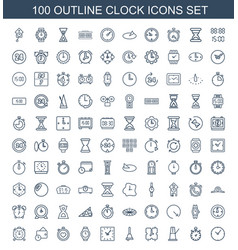 100 clock icons vector