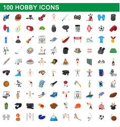 100 hobicons set cartoon style vector