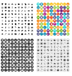 100 natural disasters icons set variant vector