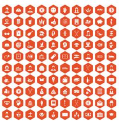 100 philanthropy icons hexagon orange vector