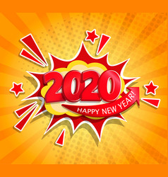 2020 new year boom card in retro pop art style vector image
