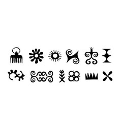 african symbols trybal icons hieroglyph ancient vector image