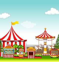 Amusement park with many rides vector