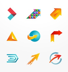 Arrow symbol logo icon set Collection of colorful vector