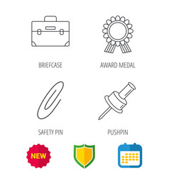Award medal pushpin and briefcase icons vector