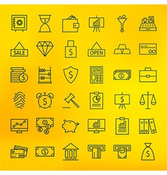Bank Banking and Finance Business Line Big Icons vector