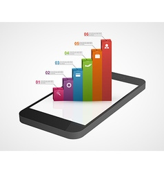 Business infographic on the screen mobile phone vector