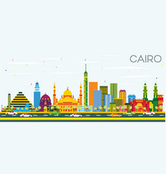 Cairo egypt skyline with color buildings and blue vector
