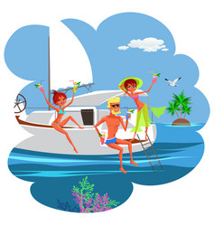 cartoon fun yacht party with friends in ocean vector image