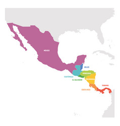 Central america region colorful map of countries vector