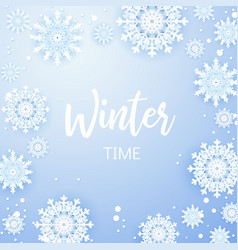 christmas background white snowflakes on grey vector image