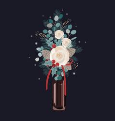 christmas bouquet decoration on dark vector image