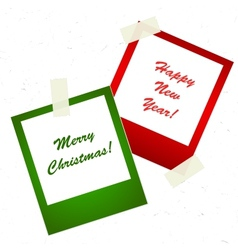 christmas photo stickers with tape vector image