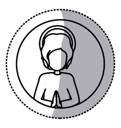circular sticker silhouette half body baby jesus vector image