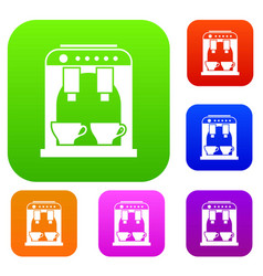 Coffee machine set collection vector