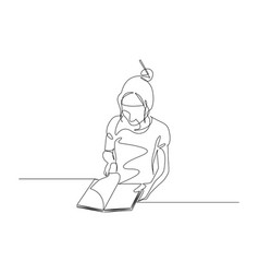 continuous one line woman turns pages a vector image