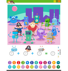 Counting and adding task with cartoon characters vector