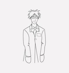 Crazy scientist icon line element vector