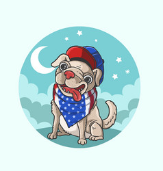 cute american dog canine vector image
