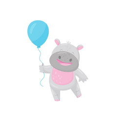 cute smiling hippo with a blue balloon lovely vector image