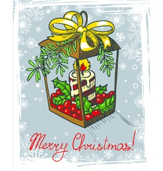 decoration with candle and holly vector image