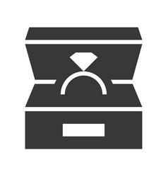 diamond ring box jewelry icon glyph style vector image