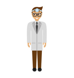 doctor wearing head mirror with glasses vector image