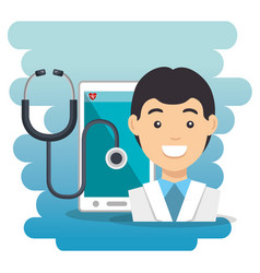 Doctor with smartphone medical services app vector