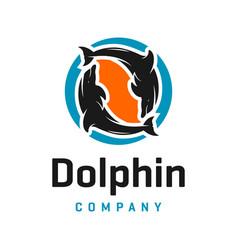 dolphin and circle logo design vector image