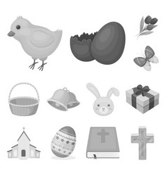 easter is a christian holiday monochrome icons in vector image