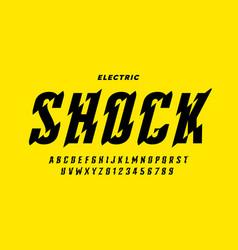 Eclectric shock style font design alphabet vector