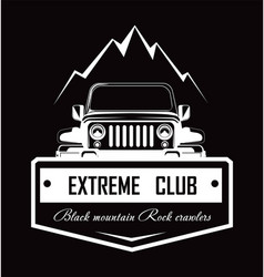 extreme club black mountain rock crawlers promo vector image