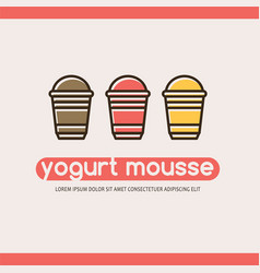 Food logotype with three yogurts vector