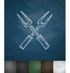 Forks icon Hand drawn vector