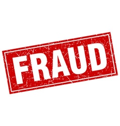fraud red square grunge stamp on white vector image