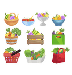 fruits and vegetables in containers flat vector image