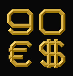 Gold faceted nine zero numbers euro and dollar vector