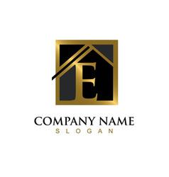gold letter e house logo vector image