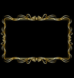 Golden decorative frame isolated vector