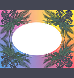 Green leaves tropical palm trees symmetrically vector