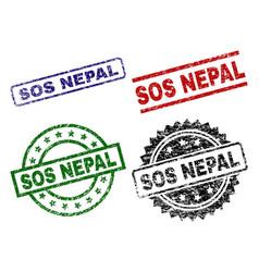Grunge textured sos nepal stamp seals vector