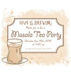hand drawn masala tea party invitation card vector image