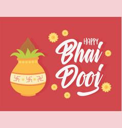happy bhai dooj indian family celebration culture vector image