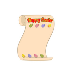 Happy easter congratulatory scroll vector