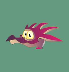 Head of little cartoon dragon with sad face vector