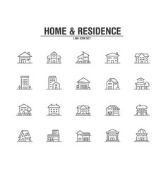 home and residence line icons vector image