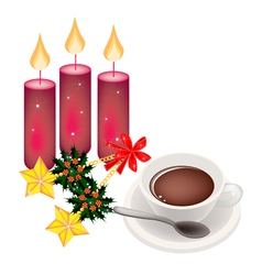 Hot Coffee with Golden Stars and Christmas Holly vector