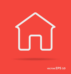 house outline icon white color vector image