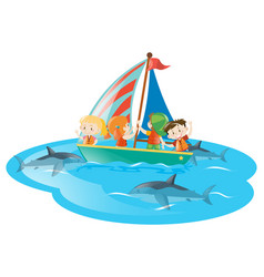 Kids on boat watching sharks swimming vector