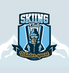 logo skiing club emblem the skier in a cap and vector image